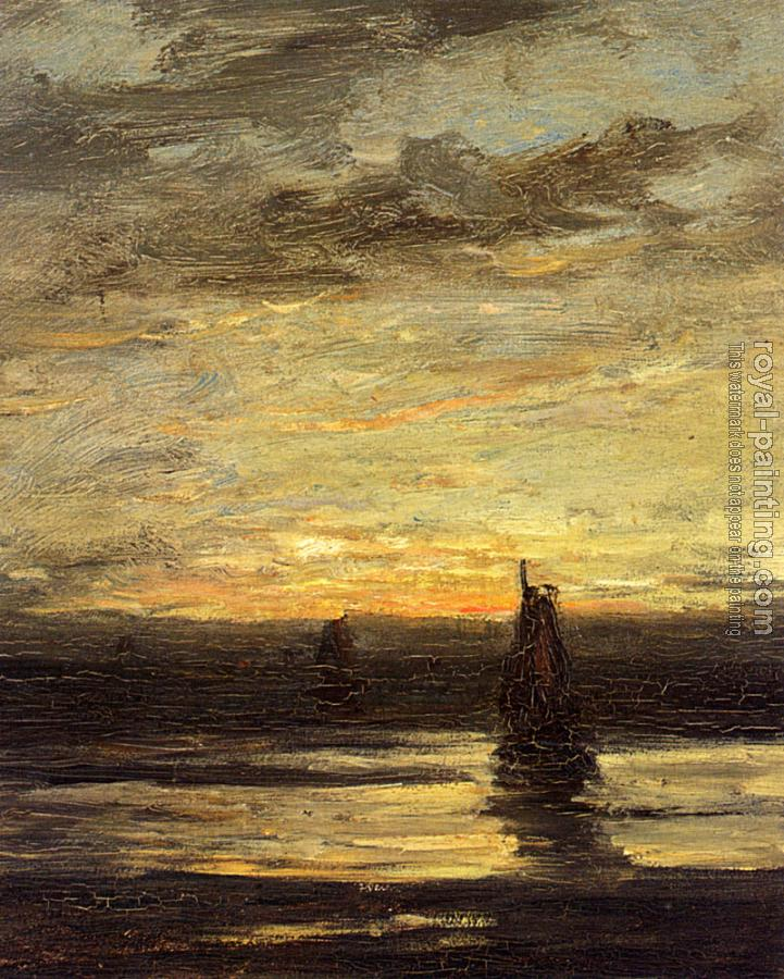 Hendrik Willem Mesdag : Fishing Boats At Dusk